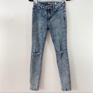 SNEAK PEEK . Acid Wash High Waist Skinny Jeans